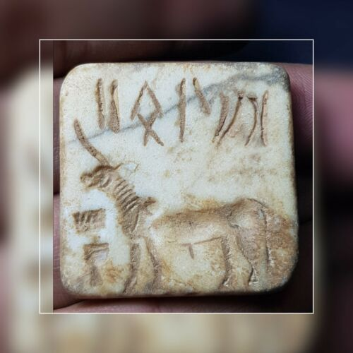 Ancient indus valley mohenjo daru marble stone bull with symbol seal stamp. #14