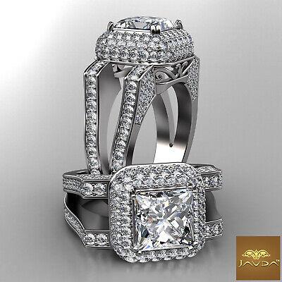 3 Row Halo Princess Diamond Engagement Split Shank Ring GIA F Color VS2 2.75Ct