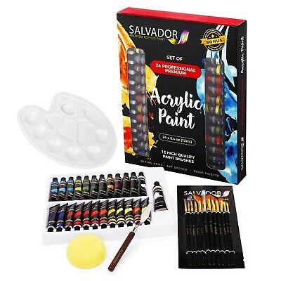 Salvador Acrylic 40pcs Paint Set 24 Colors, Artist Paint Kit for Adults and Kids