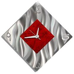 Metal Wall Clock Art Abstract Modern Silver Red Hanging Accent Decor Jon Allen