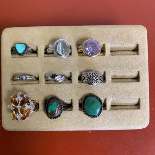Set Of (9) Sterling Silver Rings Assorted Styles Sizes 7 & UNDER Lot #45