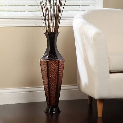 """23.5"""" Floor Tall Metal Vase Room Decor Red Black Gift for Home Office Spa"""