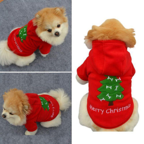 Christmas Pet Vest Dog Puppy Hoodie Sweater Jacket Cute Outfit Clothes Costume 3
