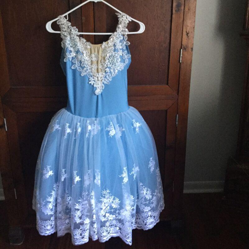 Costume Gallery Dance Costume Light Blue With Tutu Adult Medium Ballet