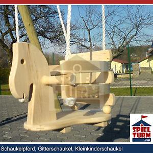 HOQ Pferdeschaukel Gitterschaukel Schaukel aus Holz Schaukelsitz Schaukelpferd