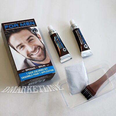 For Men Brush In Mustache Beard & Sideburns Coloring Kit Choose Brown or Black