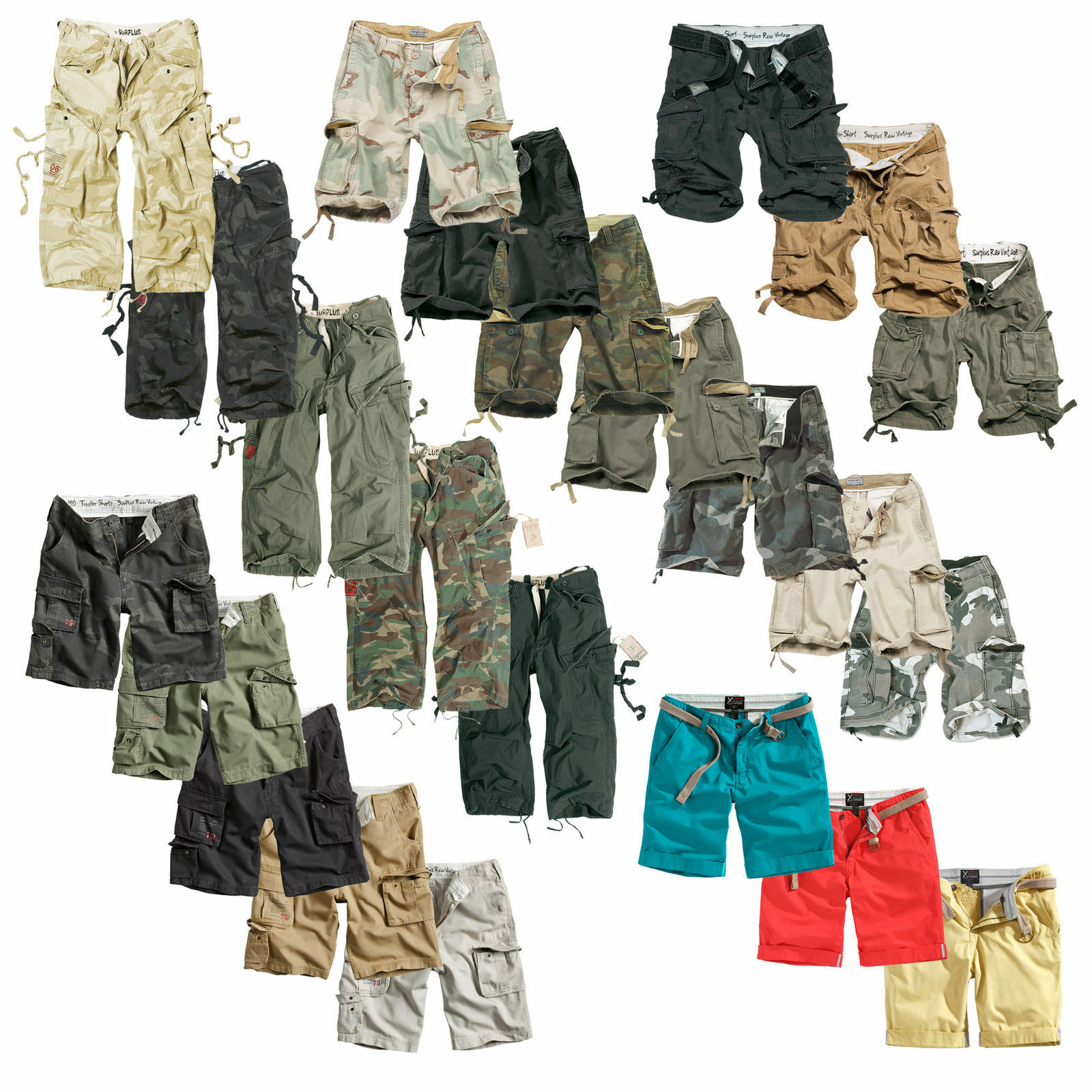 Surplus Xylontum Vintage Cargo Shorts Premium Chino Bermuda Short kurze Hose
