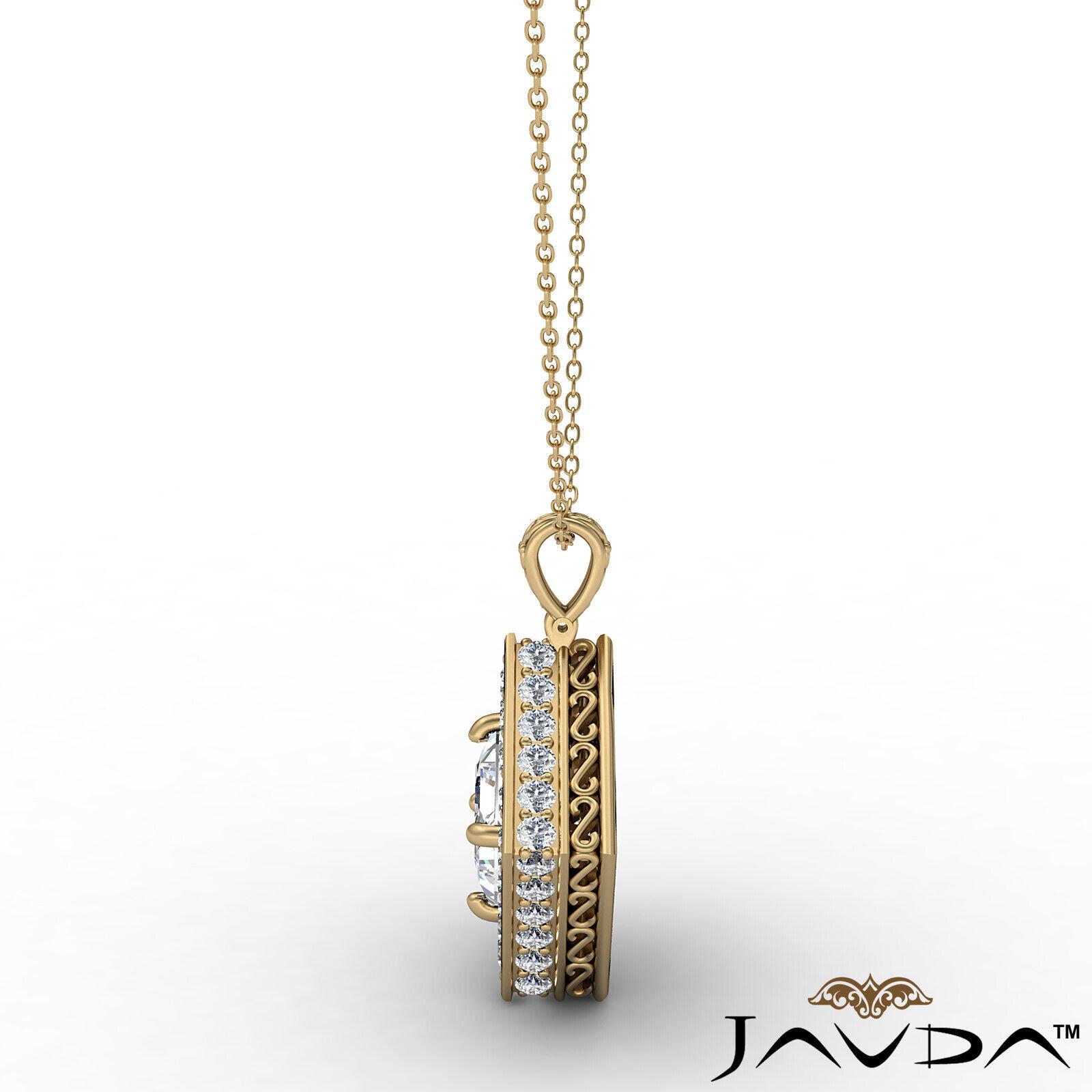 Kite Style Halo Princess 100% Natural Diamond Filigree Pendant Necklace 1.17ctw. 5