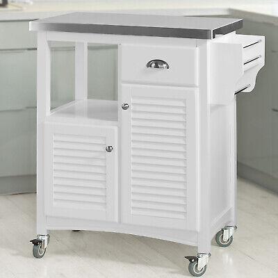 Edelstahl Küche Inseln (SoBuy® Servierwagen Edelstahlplatt,Küchenwagen,Küchenregal,Kücheninsel,FKW37-W)