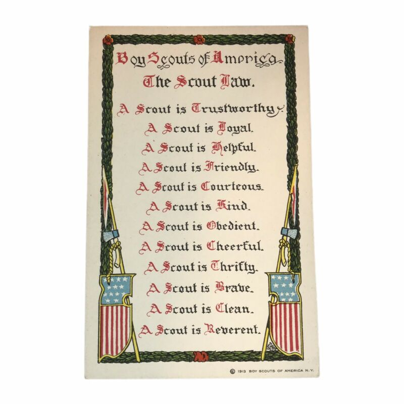 Boy Scouts Of America The Scout Law Antique Post Card 1913 BSA
