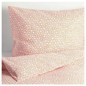 IKEA TRÄDASTER (Tradaster) White/Orange Duvet Cover Set - Single 150x200cm