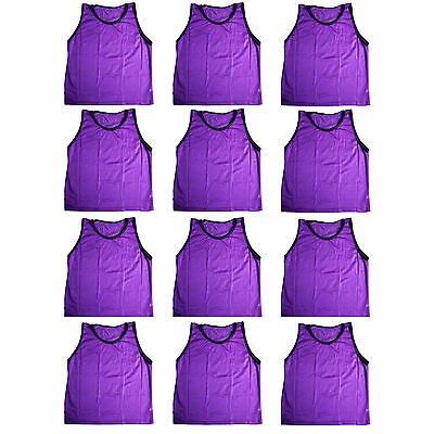 12 ADULT PURPLE SCRIMMAGE VESTS PINNIES Soccer, LaCrosse, Basketball ~ NEW! USA