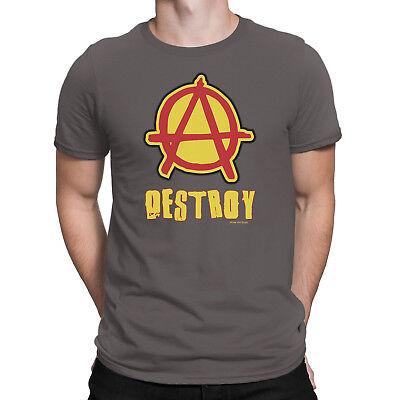 Mens T-Shirt ANARCHY DESTROY Band Guitar Drums Rock Punk Nov