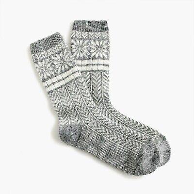 NEW J. Crew Women's Trouser socks in snowflake Fair Isle in Hthr Grey K6538