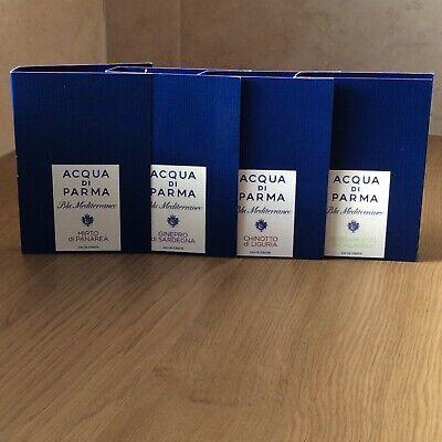 ACQUA DI PARMA FRAGRANCE COLLECTION: 4 x 1.2ml Various Blu Mediterraneo Samples