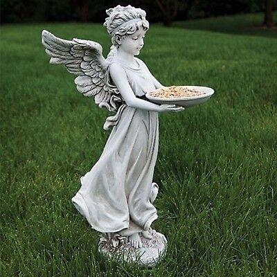 """18""""H Angel Carrying Bird Feeder Outdoor Garden Statue Joseph's Studio # 600125"""