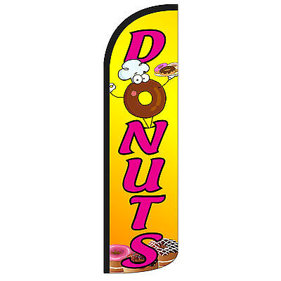 Windless Swooper Feather Flag Tall Banner Sign 3 Wide Donuts Yellow Pink