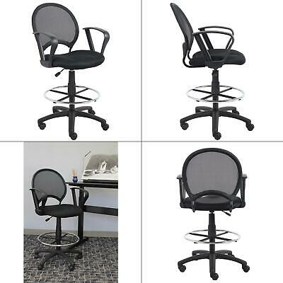 Black Mesh Drafting Stool With Loop Arms Boss Office Chair Products New
