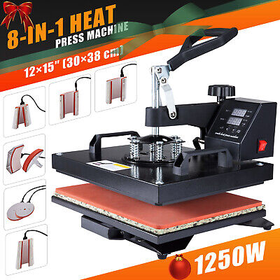"8 in 1 Heat Press Machine 12X15"" Swing Away Transfer Sublimation T-Shirt Mug Hat"