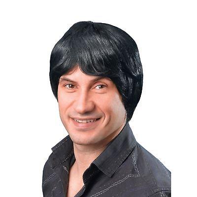 1970s Wig (1970's BOYBAND BLACK MALE SHORT WIG Adults Mens Fancy Dress Costume)