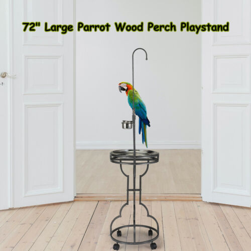 "72"" Large Parrot Wood Perch Playstand, Bird Stand with Stainless Steel Tray Bowl"