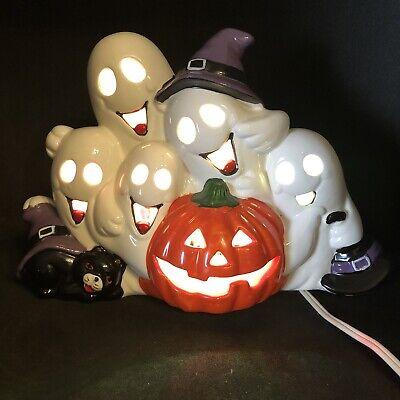 Vtg Lighted Ceramic Ghosts Cat Jack O Lantern Pumpkin Halloween Decoration 1993