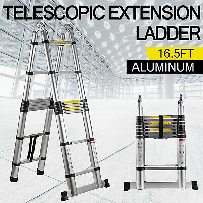 16.5ft Aluminum Multi-purpose Telescopic Ladder Extension Foldable 330lbs Load