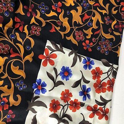 "Vintage YVES SAINT LAURENT YSL Scarf Silk Italy 34""x34"" Floral Black Red Blue"