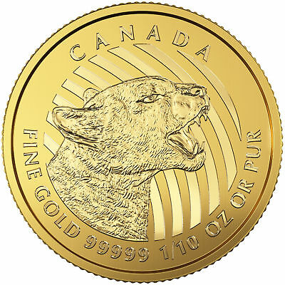 Купить Royal Canadian Mint - 2016 Canadian 1/10oz Gold Growling Cougar .99999 in Assay