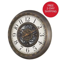 Large Gear Wall Clock Analog Lightweight Plastic Frame Aged Bronze Finish 15.5