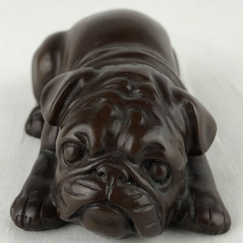 "Vintage Resin Bull Dog Bulldog Figurine 1.5"" Tall Brown Puppy"