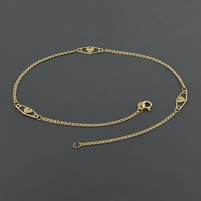 """14K YELLOW GOLD INTERLINK CHAIN W/DIAMOND SHAPE HEART STATIONS 10"""" ANKLET"""