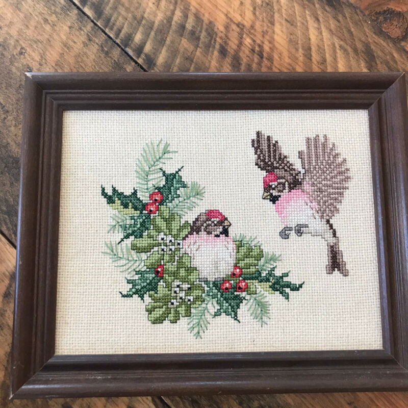 Cardinal Cross Stitch Framed