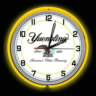 """19"""" Yuengling Beer Sign Yellow Double Neon Clock Americas Oldest Brewery"""