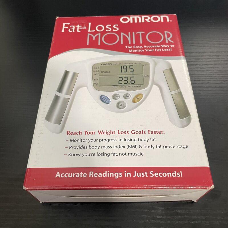 Omron Model HBF-306 Fat Loss Monitor Handheld Body Fat / BMI Analyzer Tested Box
