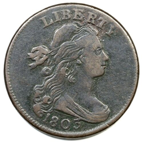 1803 S-245 R-3 Sm Date, Sm Frac Draped Bust Large Cent Coin 1c
