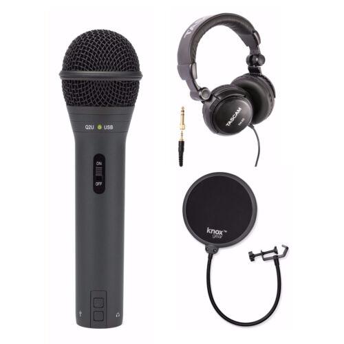 Samson Q2U Black Handheld Dynamic USB Microphone with Pop Fi