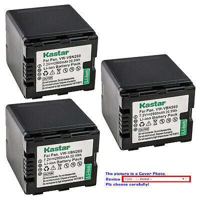 Kastar Replacement Battery Pack for Panasonic VW-VBN260 & HDC-TM900PC Camera 900 Replacement Camera Battery