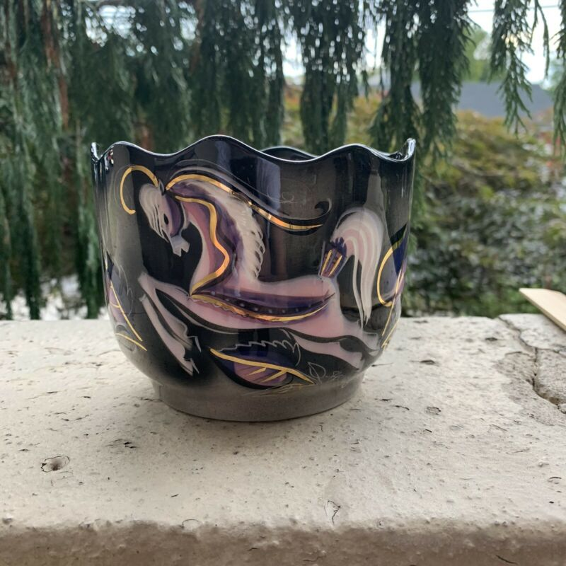 Vintage Sascha Brastoff Black Pink Gold Steed Vase , Planter