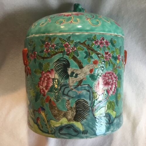 Vintage or Antique Chinese Export Porcelain Large Round Box w Roosters Tongzhi ?