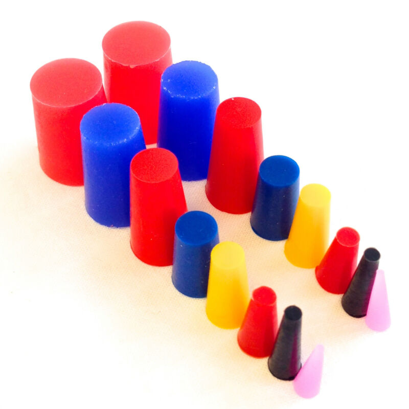 """16 Piece High Temp Silicone Rubber Tapered Plug Kit - 8 Sizes From 1/16"""" To 3/4"""""""