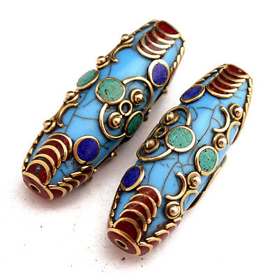 Turquoise Coral Lapis Resin 2 Beads Tibetan Nepalese Handmade Tibet Nepal UB2482