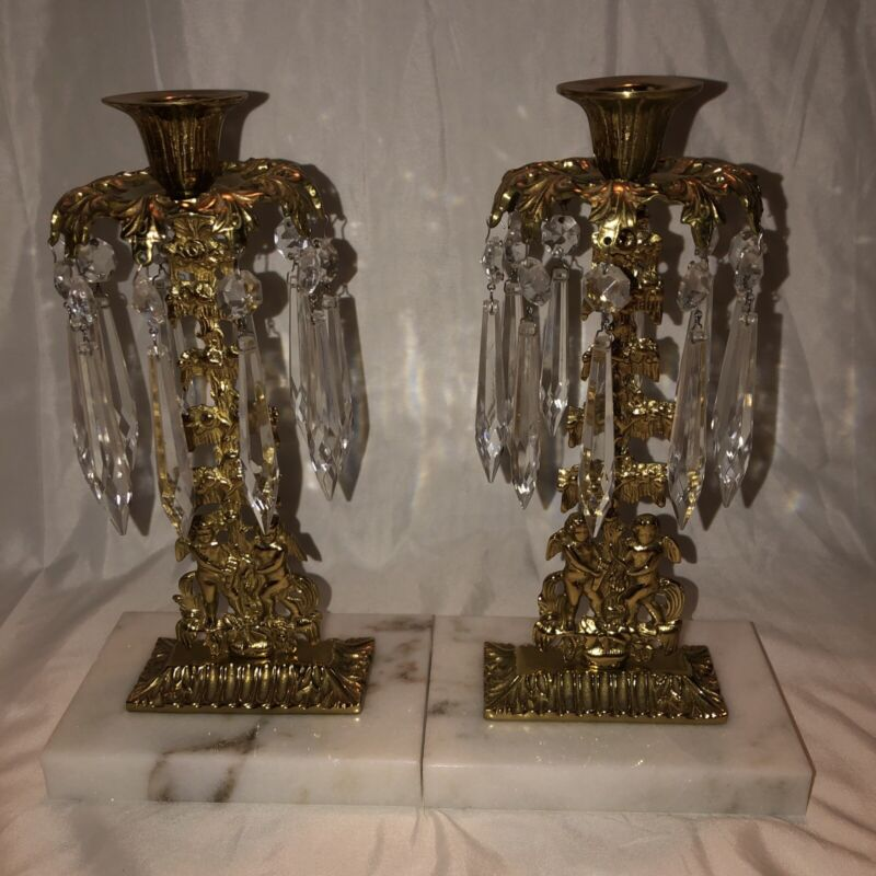Set Art nouveau Brass / Bronze Marble Crystal Prims Girandoles Candle Holder