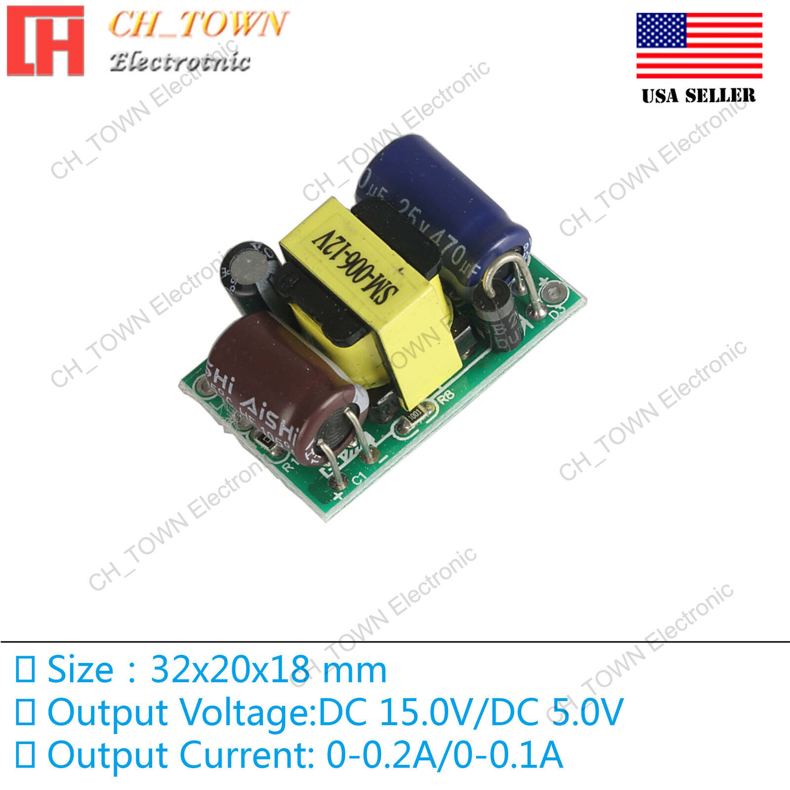 Double Road 15V 5V 3W Switching Power Supply Buck Converter Step Down Module