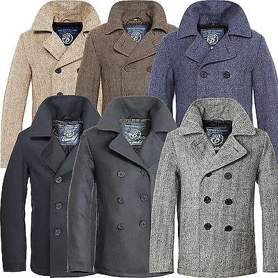 Wolle Peacoat Jacke (Brandit Pea Coat Herren Wolljacke Woll Mantel Kurzmantel Winterjacke Cabanjacke)