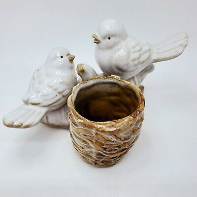 Yankee Candle Two Birds on A Log Votive Holder Candle White Brown Ceramic Decor