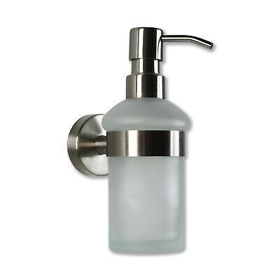 Seifenspender Wandmontage aus Edelstahl und Pumpflasche aus Glas - Fürs Bad