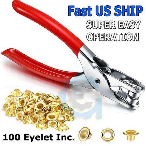 Eyelet Grommet Plier Hole Punch Leather Steel Canvas Setter Repairing Kit GOLD