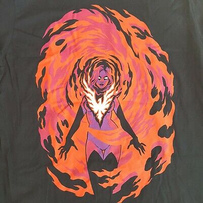 Jean Grey Dark Phoenix T Shirt Xmen Long Sleeve Marvel Comics Men XL Loot Crate