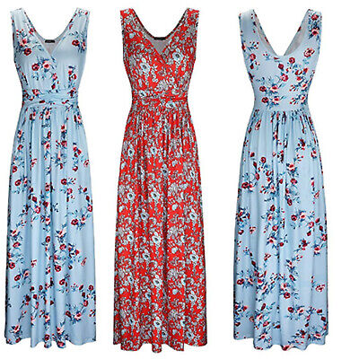 Womens V Neck Floral Printed Maxi Dress Sleeveless Boho Summer Casual Dresses